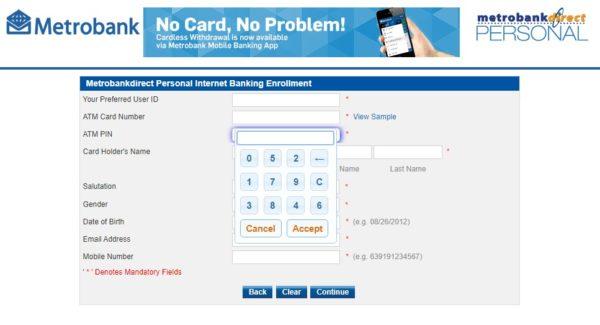 metrobank direct online guide - metrobank direct atm pin