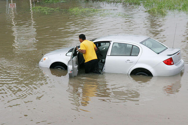 flooded car problems - what to do with water flooded car