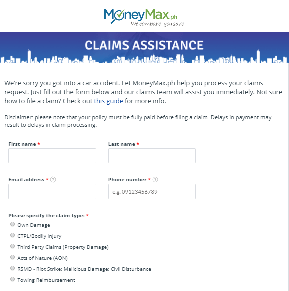 Claims Assistance Form   MoneyMax.ph