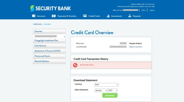 how to check security bank credit card balance
