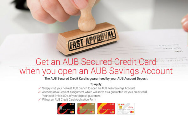 AUB secured credit card for freelancers in the Philippines