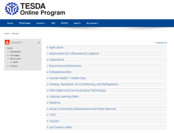Free Online Courses You Can Take in the Philippines - TESDA website