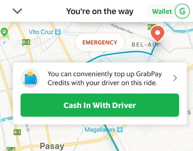 GrabPay - cash-in with driver