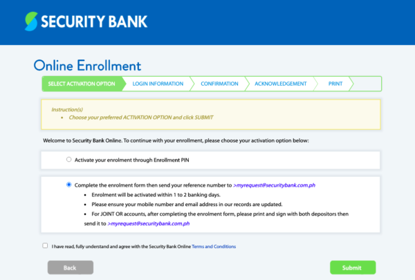 security bank online guide - how to create security bank online account