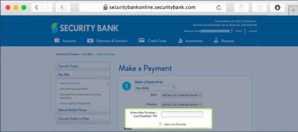 security bank online guide - security bank bills payment
