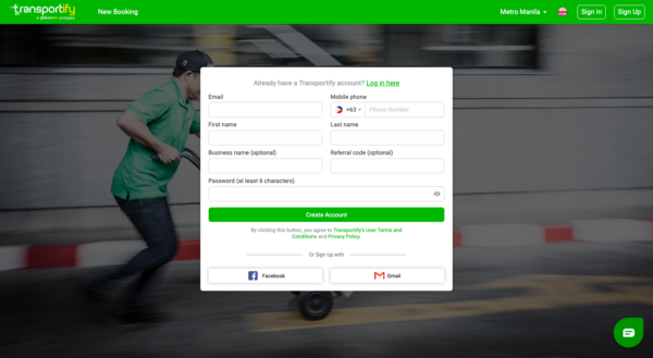 transportify app guide - transportify account registration