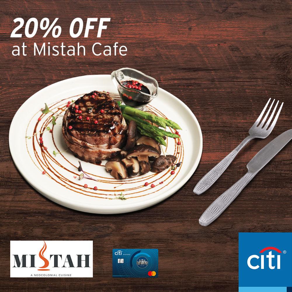 20% off at mistah cafe