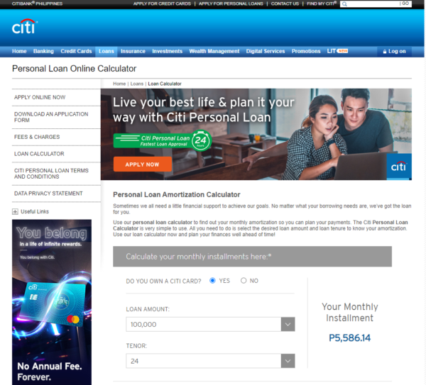 how personal loan is calculated - Citi Personal Loan calculator