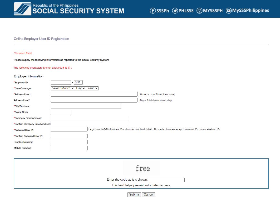 SSS online employer registration page