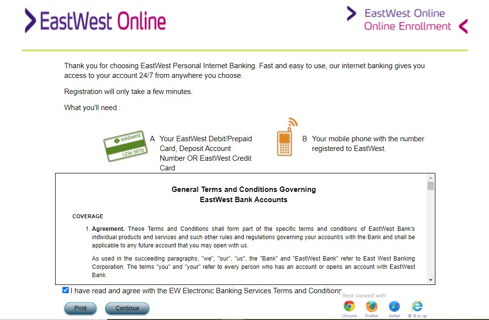 EastWest credit card application - how to register card online