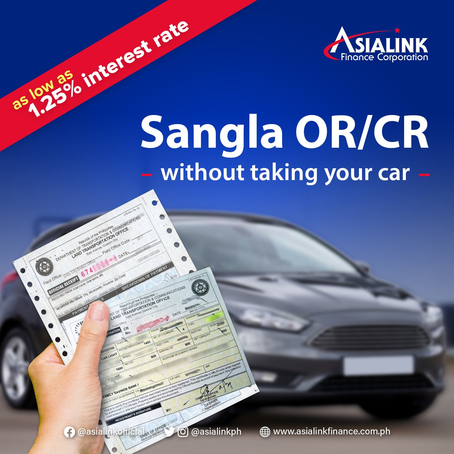car title loan - Asialink Sangla OR/CR without taking your car