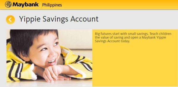 bank account for kids - Maybank Yippie Savings Account