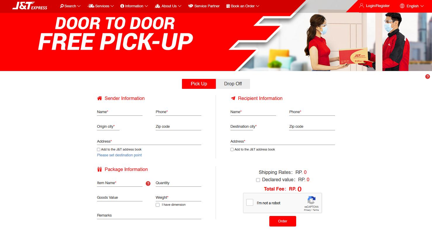 j&t express rates - pick up or drop off