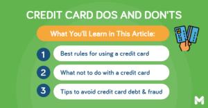 credit card dos and don'ts | Moneymax