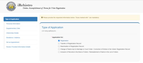 comelec irehistro online registration
